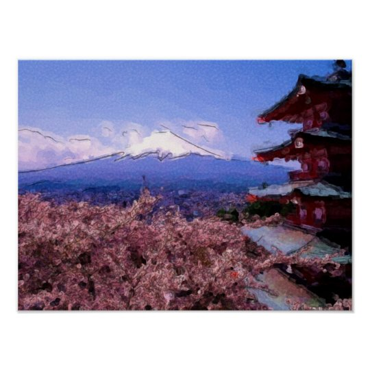 Pink Cherry Blossom Tree Poster