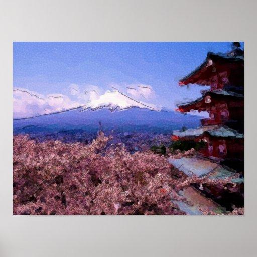 Pink Cherry Blossom Tree Print