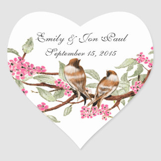 Pink Cherry Blossom Vintage Birds Wedding Stickers