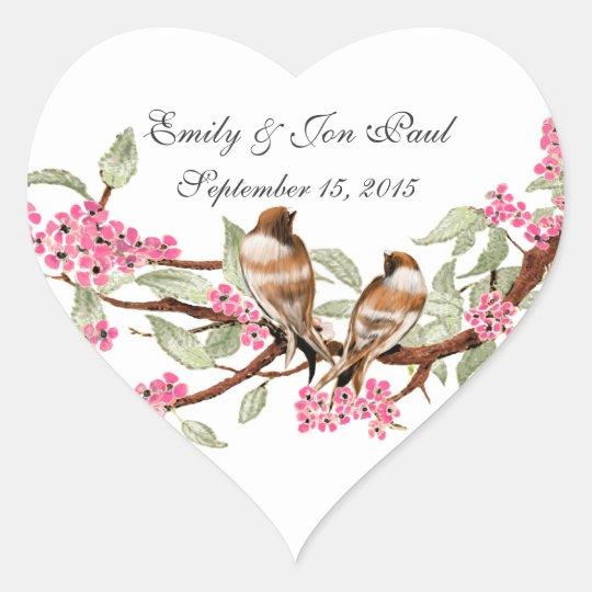 Pink Cherry Blossom Vintage Birds Wedding Stickers