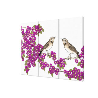 Pink Cherry Blossom Vintage Love Birds Canvas Prints