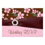 Pink Cherry Blossom Wedding RSVP Invitation Cards
