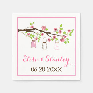 Pink cherry blossoms and mason jars wedding disposable napkin