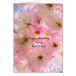 Pink Cherry Blossoms Birthday Blessings Card