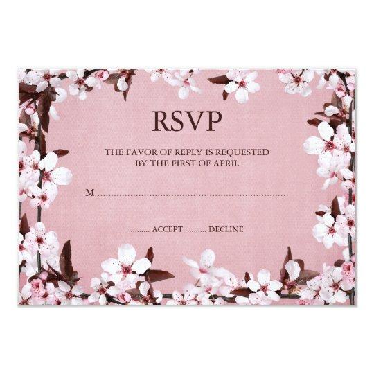 Pink Cherry Blossoms Border RSVP Response Cards
