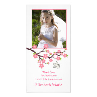 Pink Cherry Blossoms, Dove, Religious Photo Card