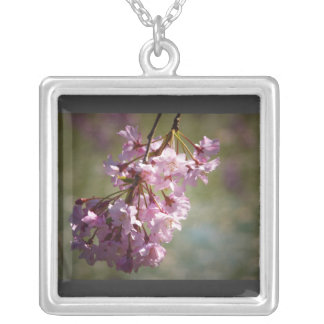 Pink Cherry Blossoms In The Sunlight Square Pendant Necklace