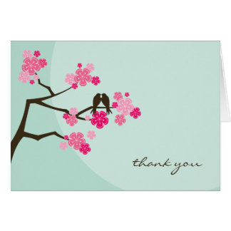 Pink Cherry Blossoms Love Birds Wedding Thank You Greeting Card