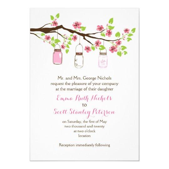 Pink cherry blossoms & mason jars spring wedding