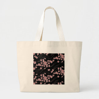 Pink Cherry Blossoms on Black Tote Bag