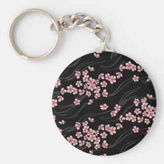Pink Cherry Blossoms on Black Basic Round Button Key Ring