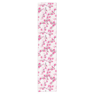 Pink cherry blossoms Oriental Sakura watercolor Short Table Runner