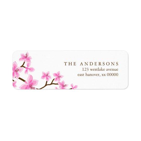 Pink Cherry Blossoms Return Address Label