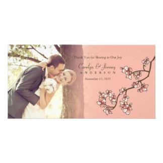 Pink Cherry Blossoms Sakura Wedding Thank You Card Personalised Photo Card