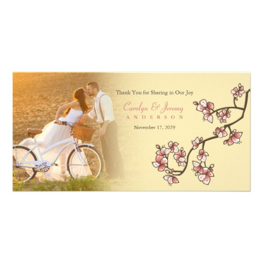 Pink Cherry Blossoms Sakura Wedding Thank You Card Personalized Photo Card