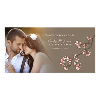 Pink Cherry Blossoms Sakura Wedding Thank You Card Photo Card Template