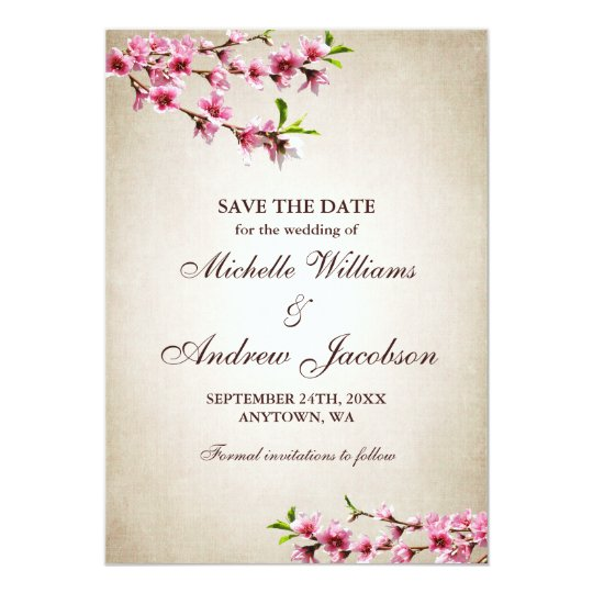 Pink Cherry Blossoms Tan Wedding Save the Date Card