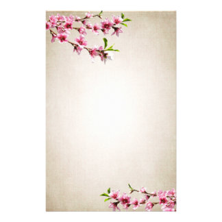 Pink Cherry Blossoms Vintage Tan Stationery