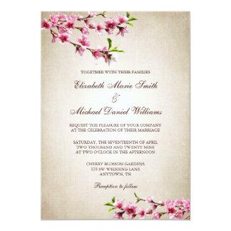Pink Cherry Blossoms Vintage Tan Wedding 13 Cm X 18 Cm Invitation Card