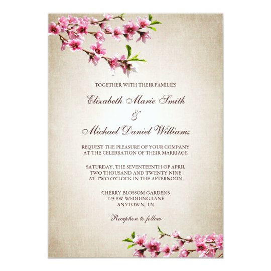 Pink Cherry Blossoms Vintage Tan Wedding Card