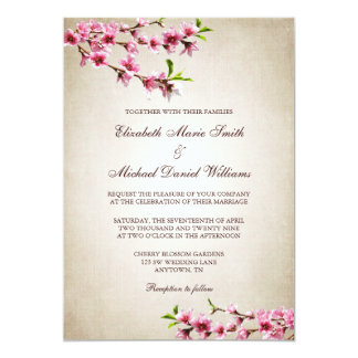 Pink Cherry Blossoms Vintage Tan Wedding 13 Cm X 18 Cm Invitation Card