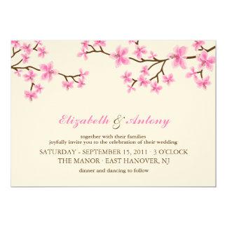 Pink Cherry Blossoms Wedding 13 Cm X 18 Cm Invitation Card
