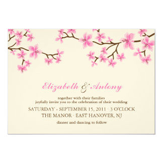 Pink Cherry Blossoms Wedding Card