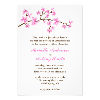 Pink Cherry Blossoms Wedding Personalized Announcements