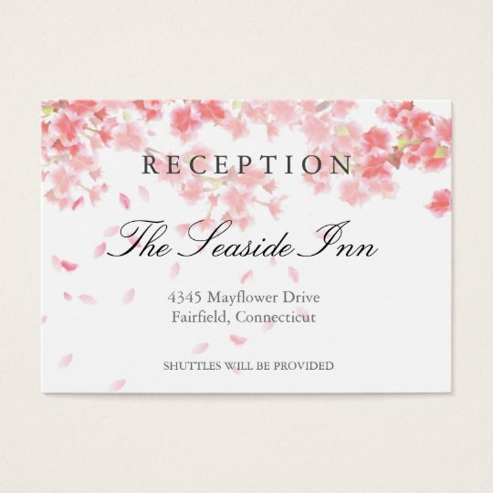 Pink Cherry Blossoms Wedding Reception Card