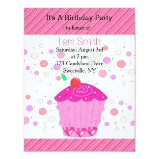 Pink Cherry Cupcake Birthday Invitation