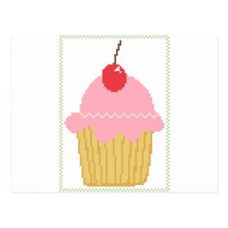 pink cherry cupcake postcard