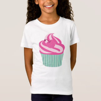 Pink Cherry Cupcake with Green Stripes T-Shirt