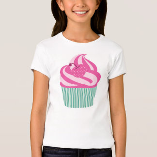 Pink Cherry Cupcake with Green Stripes T-shirts