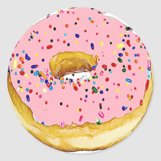 Pink Cherry Frosted Donut with Sprinkles Sticker
