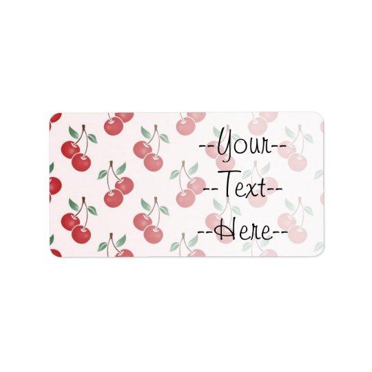 Pink Cherry Pattern Address Label