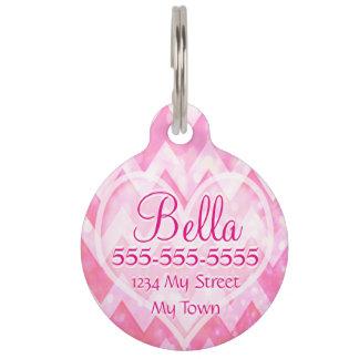 Pink Chevorn Glitter Heart Pet ID Tag