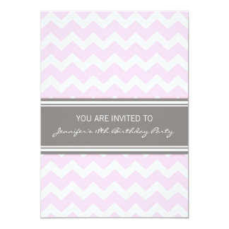 Pink Chevron 18th Birthday Party Invitations