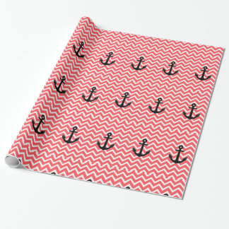 Pink Chevron Anchor Wrapping Paper
