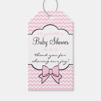 Pink Chevron and Bow Baby Shower Guest Favor Gift Tags