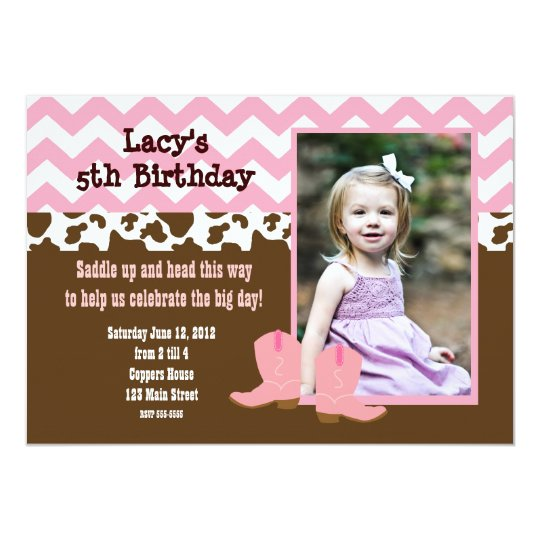 Pink Chevron and Cow Cowgirl Invitation