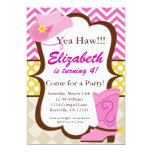 Pink Chevron and Cowgirl Boot Birthday Party Invite
