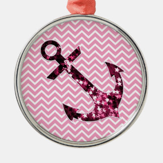 Pink Chevron and Sparkly Stars Anchor Christmas Ornament