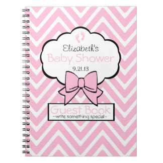 Pink Chevron Baby Shower Guest Book