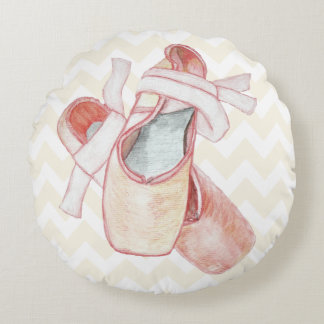 Pink Chevron Ballet Slippers Dancer Round Cushion