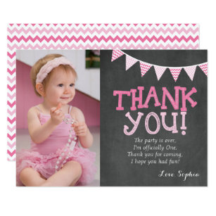 1st birthday thank you cards invitations zazzle pink chevron birthday thank you card bookmarktalkfo Gallery