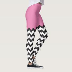 Pink Chevron Blocking pattern Leggings