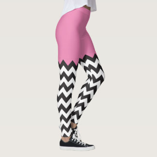 Pink Chevron Blocking pattern Leggings