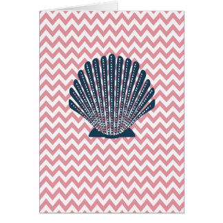 Pink Chevron Blue Seashell Card