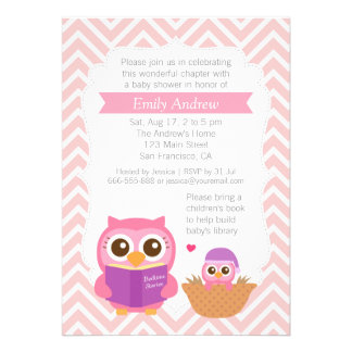 Pink Chevron Book Themed Owl Baby Shower Party Custom Announcement