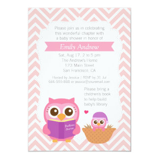 "Pink Chevron Book Themed Owl Baby Shower Party 5"" X 7"" Invitation Card"